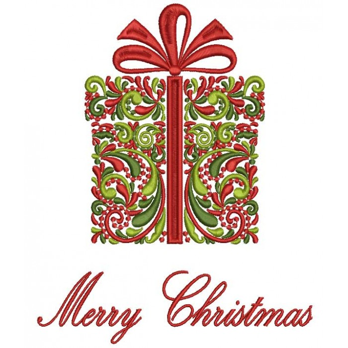 Merry Christmas Ornate Present Filled Machine Embroidery Design Digitized Pattern