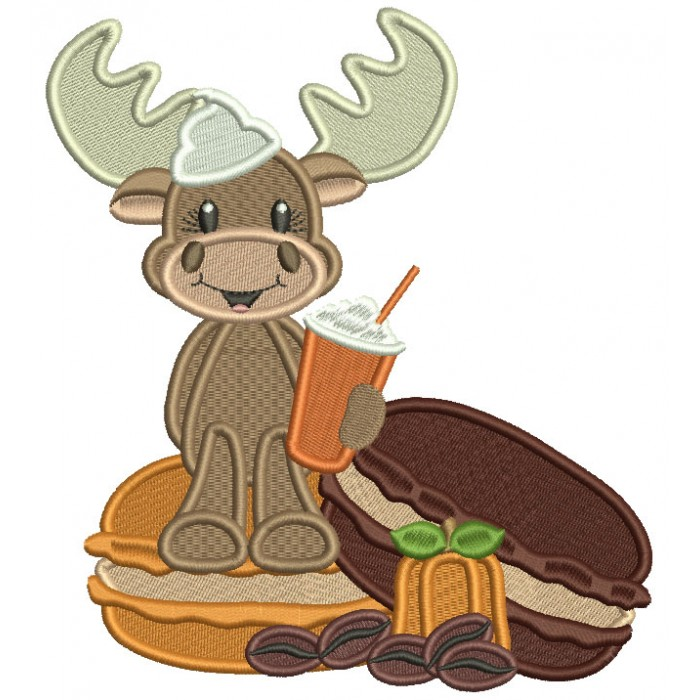 Moose Sitting on a Donut Fall Filled Thanksgiving Machine Embroidery Design Digitized Pattern