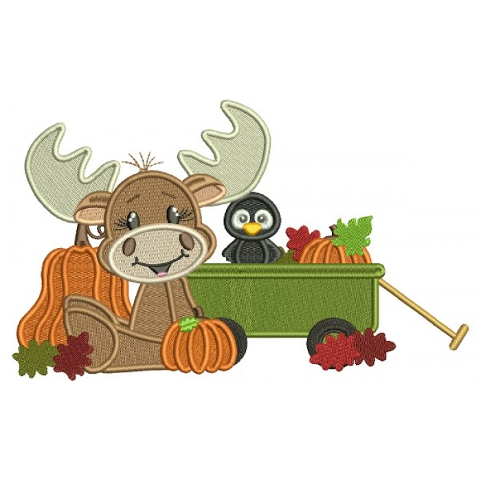 Moose and a Bird At The Pumpkin Patch Fall Thanksgiving Filled Machine Embroidery Design Digitized Pattern