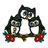 Mother Owl And Two Baby Owls Autism Awareness Applique Machine Embroidery Design Digitized