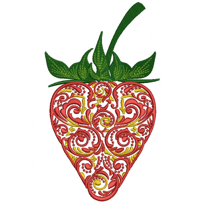 Ornate Strawberry Filled Machine Embroidery Design Digitized Pattern