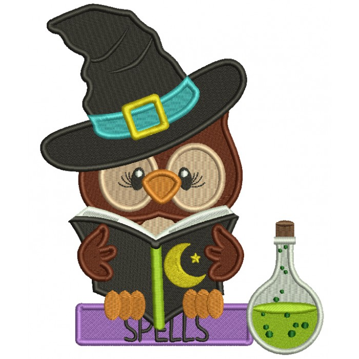 Owl WIzard Reading a Books With Spells Filled Halloween Machine Embroidery Design Digitized Pattern