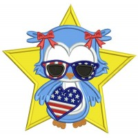 Patriotic Owl Independence Day Holding USA Flag Heart Applique Machine Embroidery Design Digitized Pattern