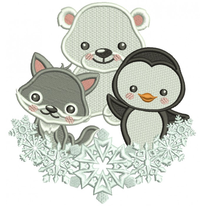 Penguin Polar Bear and a Fox Christmas Filled Machine Embroidery Design Digitized Pattern