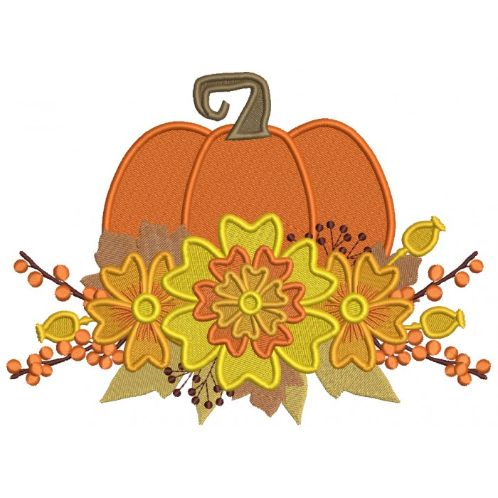 Pumpkin With Fall Flowers Filled Machine Embroidery Design Digitized Pattern