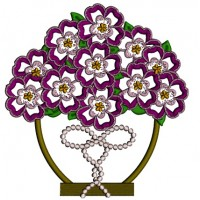 Purple Flowers In The Pot Applique Machine Embroidery Design Digitized Pattern