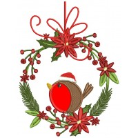 Red Robin Sitting On Christmas Wreath Applique Machine Embroidery Design Digitized Pattern