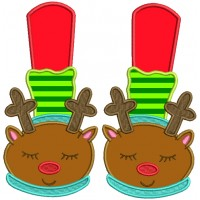 Rudolph the Red-Nosed Reindeer Slippers Christmas Applique Machine Embroidery Design Digitized Pattern