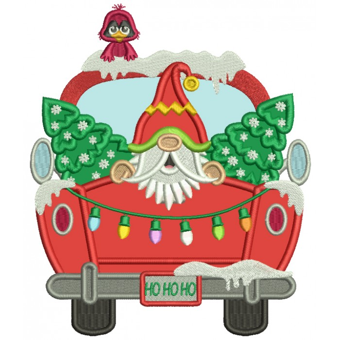 Santa Sitting In The Back Of a Truck With Christmas Trees Applique Machine Embroidery Design Digitized Pattern