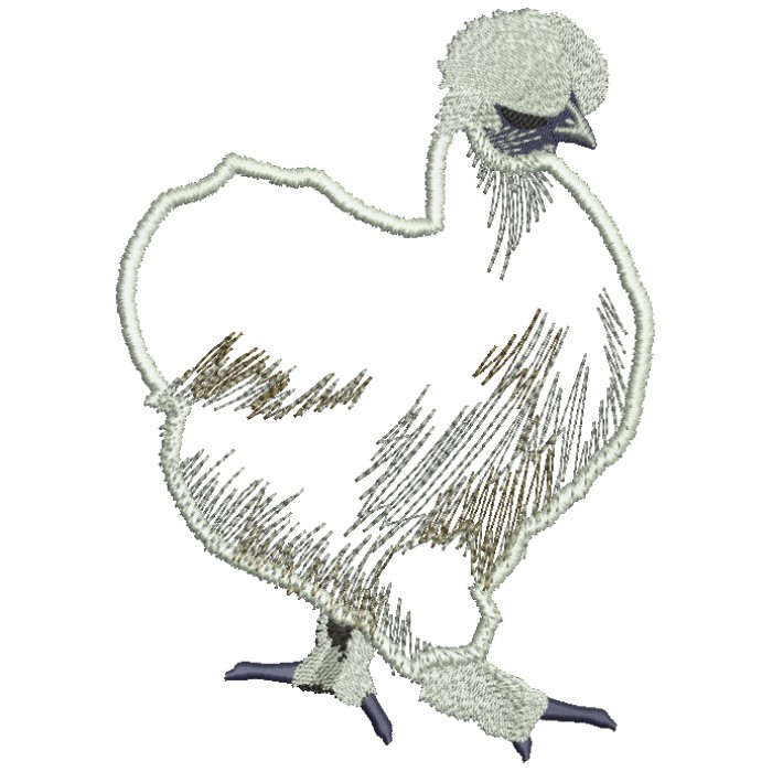 Silkie Chicken Applique Machine Embroidery Design Digitized Pattern