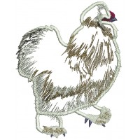 Silkie Rooster Applique Machine Embroidery Design Digitized Pattern
