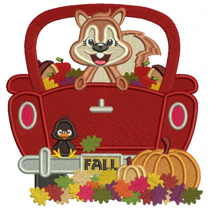 Squirrel Sitting In A Truck With Pumpkins Fall Filled Machine Embroidery Design Digitized Pattern