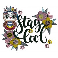 Stay Cool Owl With Flowers Applique Machine Embroidery Design Digitized Pattern