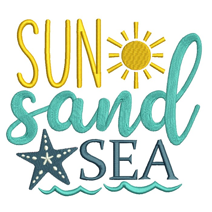 Sun Sand And Sea Filled Machine Embroidery Design Digitized Pattern
