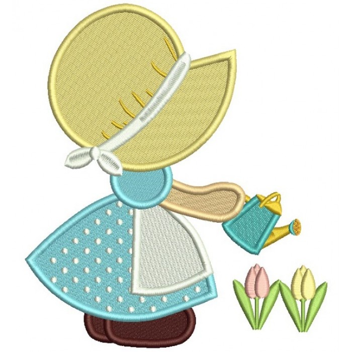 Sunbonnet Doll Watering Plants Filled Machine Embroidery Design Digitized Pattern