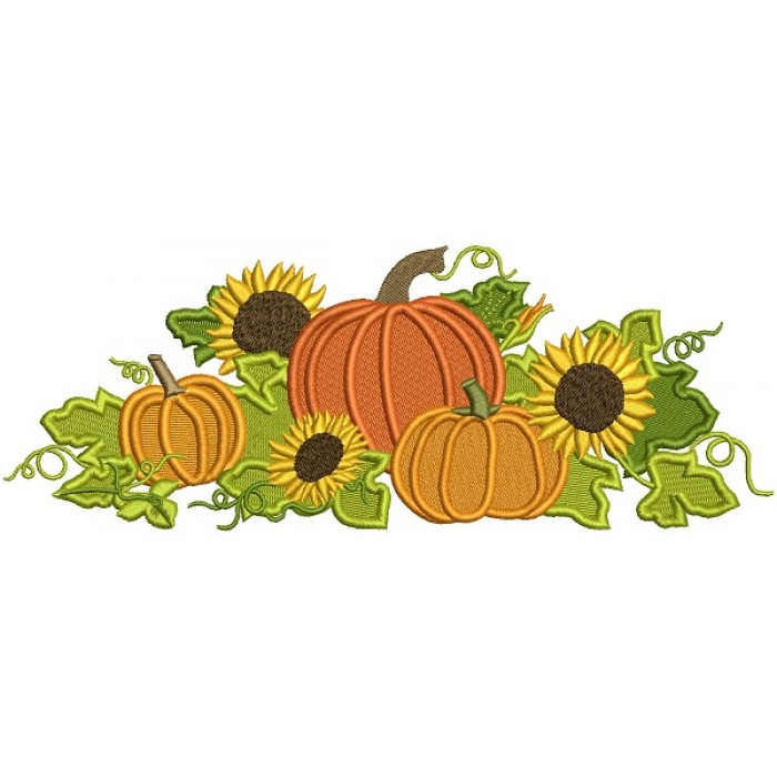Thanksgiving Cornucopia WIth Pumpkins and Sunflowers Filled Machine Embroidery Design Digitized Pattern