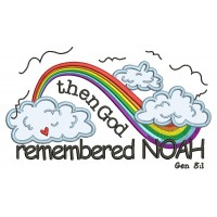 Then God Remembered Noah Rainbow Religious Genesis 8-1 Applique Machine Embroidery Design Digitized Pattern