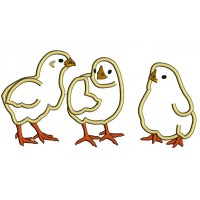 Three Baby Chicks Applique Machine Embroidery Design Digitized Pattern