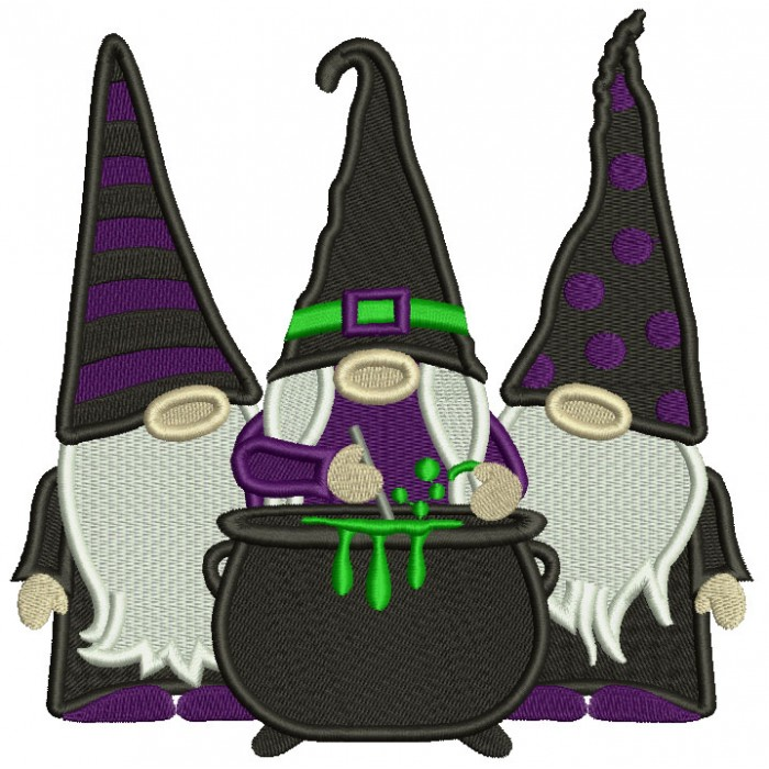 Three Gnomes Wizard Making Potion Halloween Filled Machine Embroidery Design Digitized Pattern