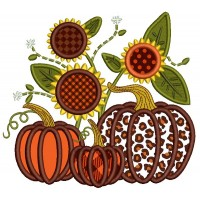 Three Pumpkins And Sunflowers Fall Thanksgiving Applique Machine Embroidery Design Digitized Pattern
