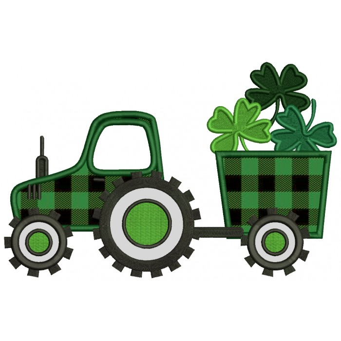 Tractor With Wagon Full Of Shamrocks  St. Patrick's Day Applique Machine Embroidery Design Digitized Pattern