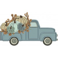 Truck Filled With Pumpkins Thanksgiving Applique Machine Embroidery Design Digitized Pattern