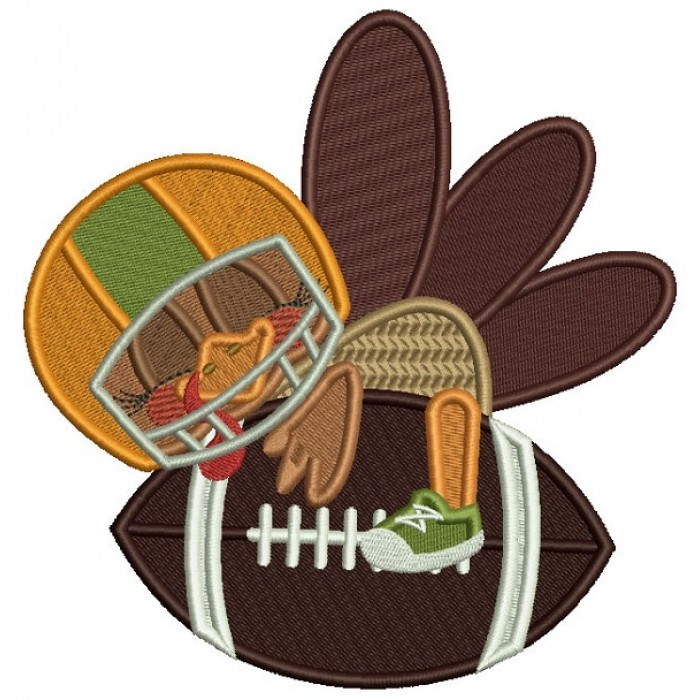 Turkey Football Player Hugging a Football Thanksgiving Filled Machine Embroidery Design Digitized Pattern