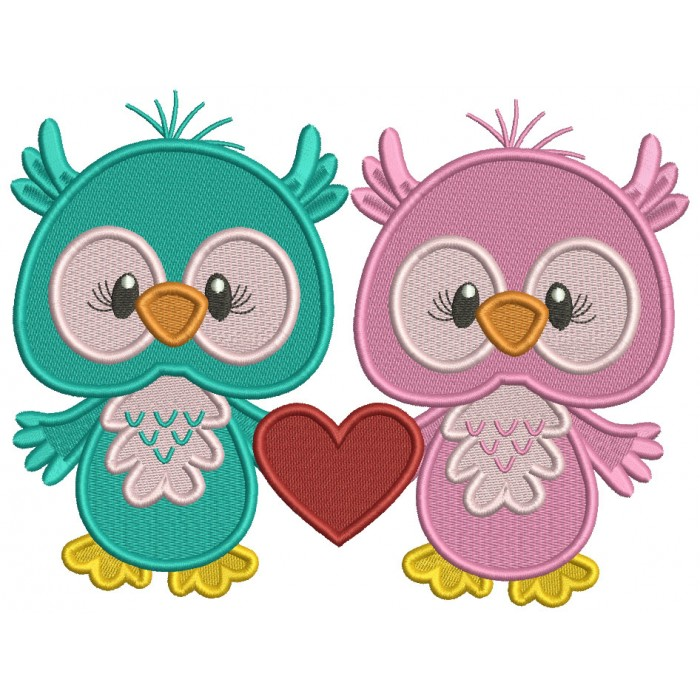 Two Cute On Love With a Big Heart Filled Valentine's Day Machine Embroidery Design Digitized Pattern