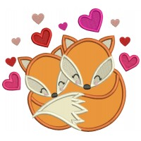 Two Foxes And Hearts Valentine's Day Applique Machine Embroidery Design Digitized Pattern