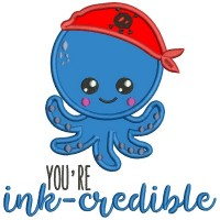 You're Ink-Credible Cute Pirate Octopus Applique Machine Embroidery Design Digitized Pattern