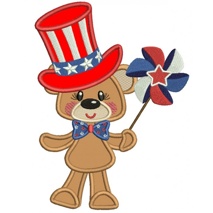 4th Of July Bear Holding Pinwheel Wearing USA Hat Applique Machine Embroidery Design Digitized Pattern