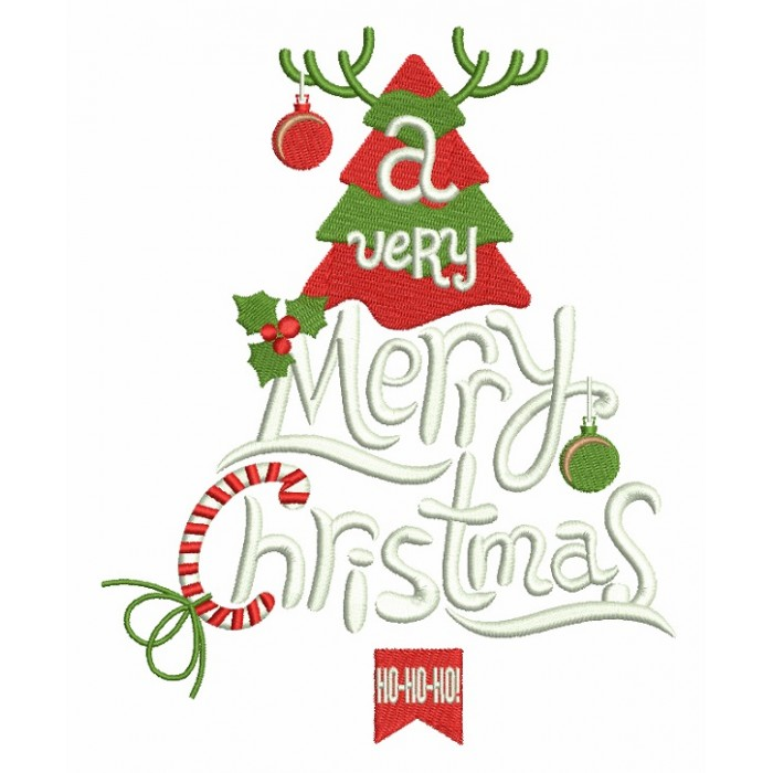 A Very Merry Christmas Ho Ho Ho Filled Machine Embroidery Design Digitized Pattern
