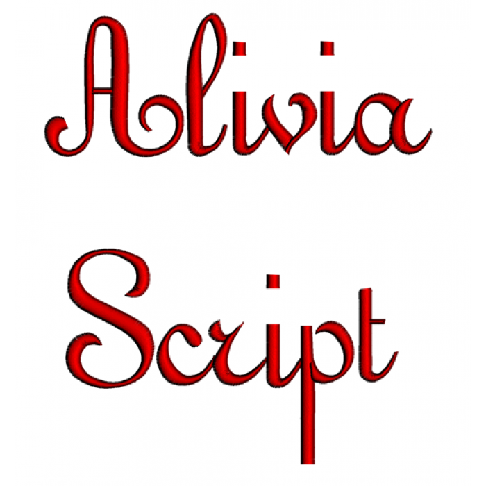 Alivia Script Machine Embroidery Font Upper and Lower Case 1 2 3 inches