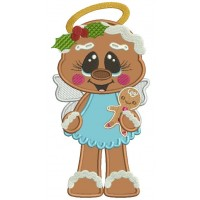 Angel Gingerbread Girl Holding Gingerbread Man Fall Applique Thanksgiving Machine Embroidery Design Digitized Pattern