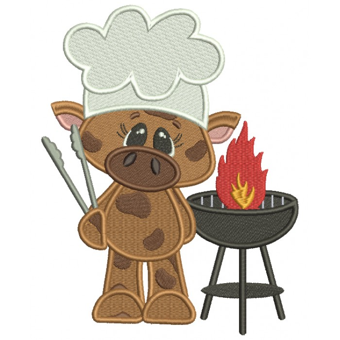 BBQ Cute Cow Chef Filled Machine Embroidery Design Digitized Pattern