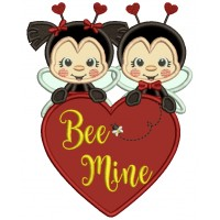 Be Mine Two Ladybugs Holding Hearts Applique Valentine's Day Machine Embroidery Design Digitized Pattern