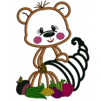 Bear Holding Thanksgiving Cornucopia Applique Machine Embroidery Design Digitized Pattern
