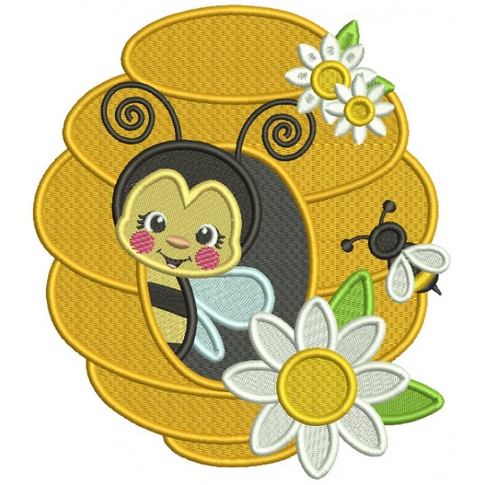 Bee Inside a Honeycomb Filled Machine Embroidery Digitized Design Pattern