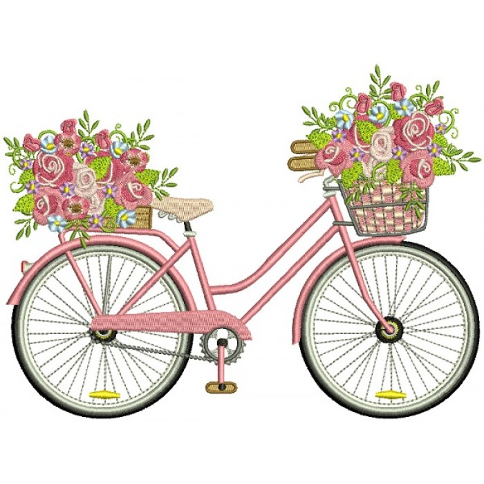 Bicycle With Flowers Filled Halloween Machine Embroidery Design Digitized Pattern