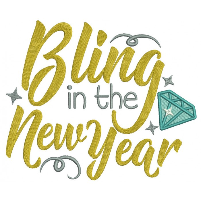 Bling In The New Year Filled Machine Embroidery Design Digitized Pattern