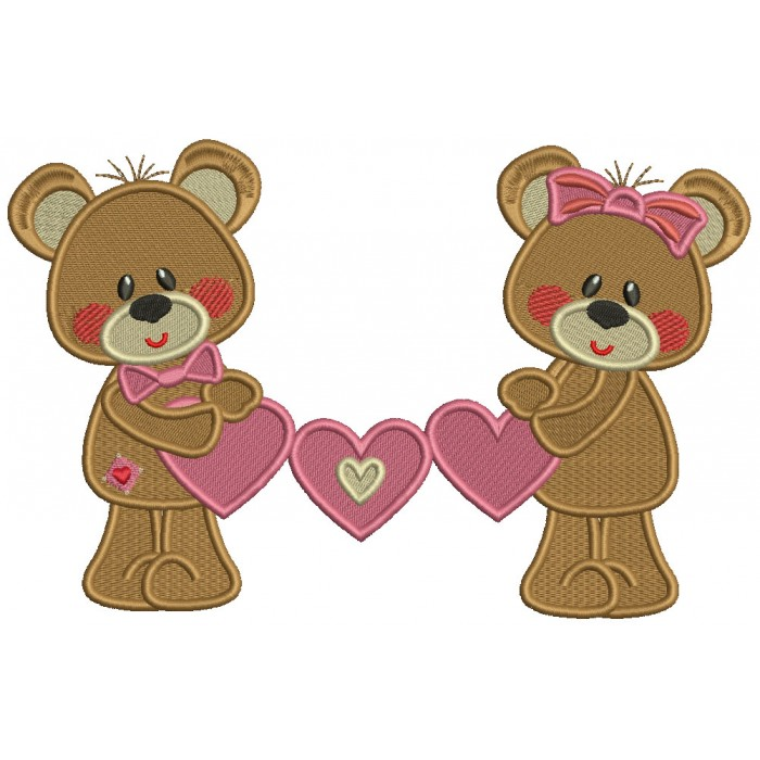 Boy And Girl Bears Holding Hearts Valentine's Day Filled Machine Embroidery Design Digitized Pattern