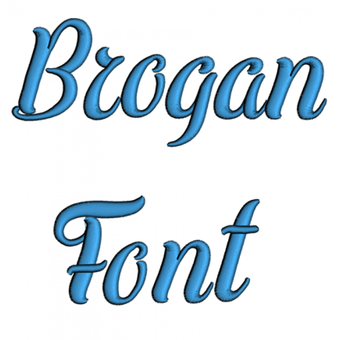Brogan Font Machine Embroidery Script Upper and Lower Case 1 2 3 inches