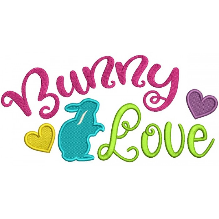 Bunny Love With Hearts Filled Easter Machine Embroidery Design Digitized Pattern
