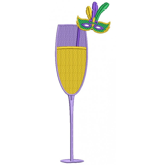 Champagne Glass With Mardi Gras Mask Filled Machine Embroidery Design Digitized Pattern
