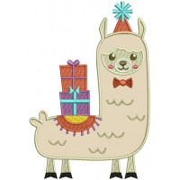 Christmas Llama With Presents Applique Machine Embroidery Design Digitized Pattern
