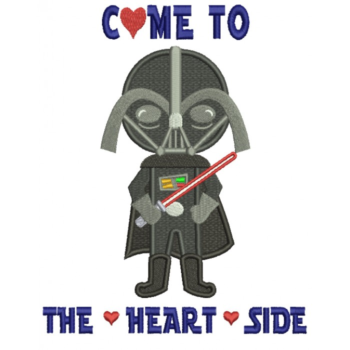 Come To The Heart Side Looks Like Darth Vader From Star Wars Filled Machine Embroidery Design Digitized Pattern