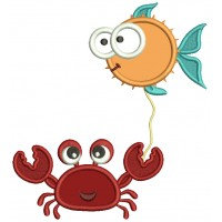 Crab Holding Fish On a String Applique Machine Embroidery Design Digitized Pattern