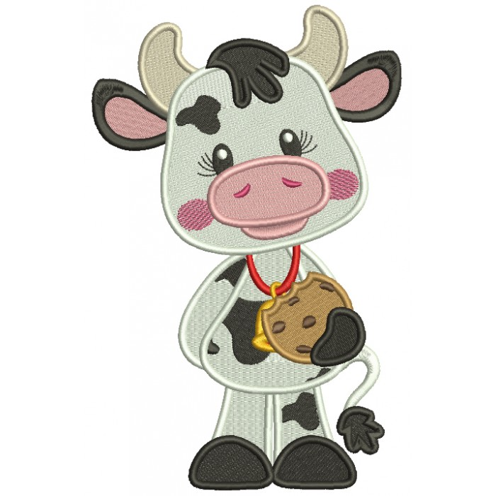 Cute Baby Cow Holding a Neckless Cookie Filled Machine Embroidery Design Digitized Pattern