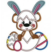 Cute Bear Wearing Bunny Ears Easter Applique Machine Embroidery Design Digitized Pattern