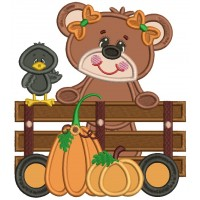 Cute Bear and Crow With Pumpkins Applique Machine Embroidery Design Digitized Pattern